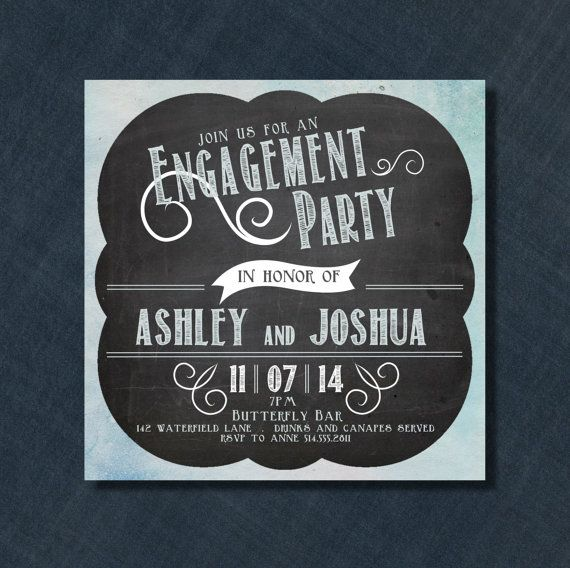 Blue and White Chalkboard Engagement Invitation by PaperCandyCa, $2.00