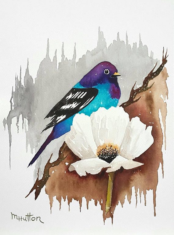 Colorful Bird And White Flower Print Watercolor Original Painting