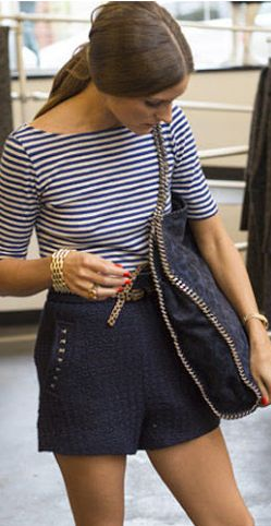 OP clutch : navy & white stripe blouse with sailor high waisted shorts.  Mariner inspired  summer or spring 2013 outfit.