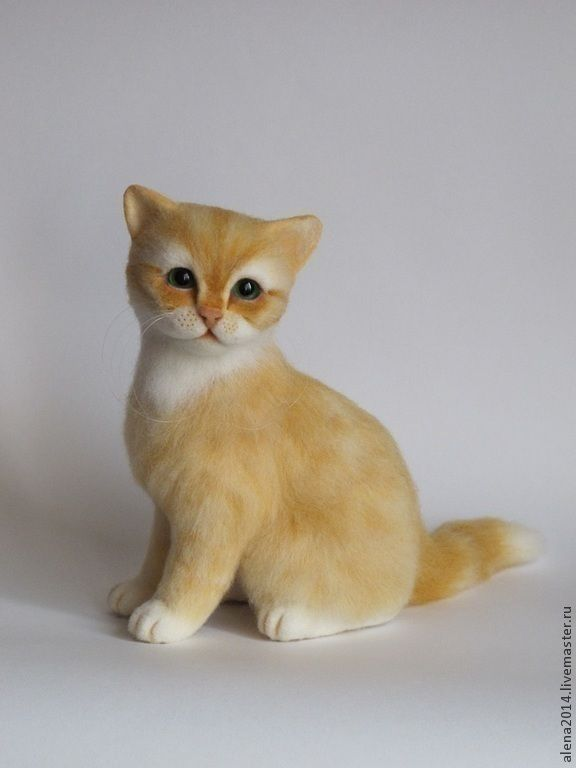 Купить Юми - рыжий, кошечка, кошка игрушка, кошка валяная, кошка из шерсти, рыжая кошка