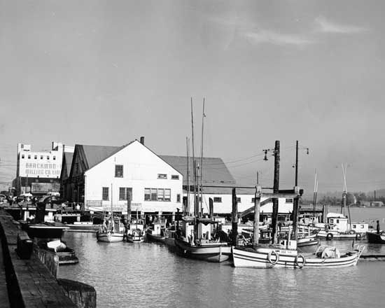 Photograph shows fishing boats moored at foot of Eighth Street and Front Street. Brackman-Kerr Milling is visible in the background.  August 9, 1948.  IHP7156