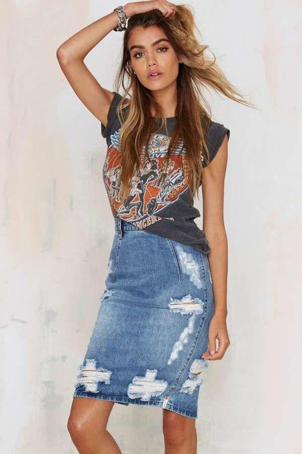 One Teaspoon Freelove Denim Skirt - Faded