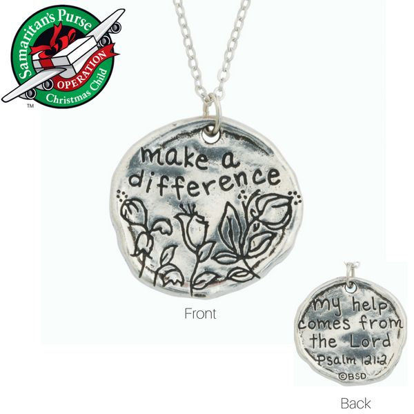Handcrafted Fine Pewter Scripture Verse Necklace | Make a Difference | Operation Christmas Child