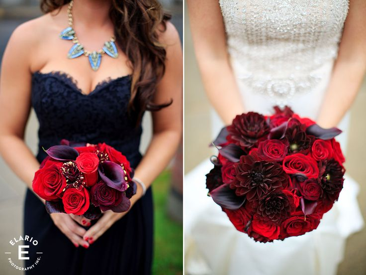 red bridal bouquets, bridal bouquets, red roses, calla lily bouquet, halloween wedding