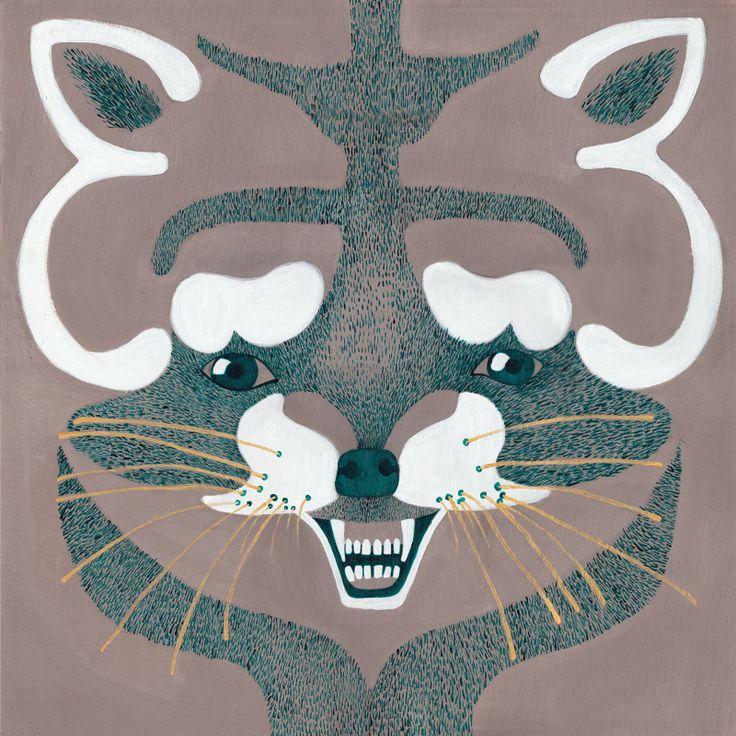 raccoon, ink and acrylic on cardboard