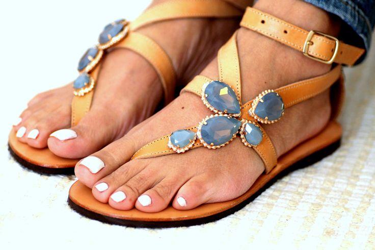 "Sandals with Swarovski crystals ""Amber"" (handmade to order) by ElinaLinardaki on Etsy https://www.etsy.com/listing/224935367/sandals-with-swarovski-crystals-amber"
