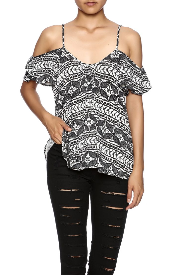 Black and white pattern on jersey strappy top that has cold shoulder and fluttery sleeves.   Good Fortune Top by Lucy Love. Clothing - Tops - Short Sleeve Clothing - Tops - Blouses & Shirts Arizona