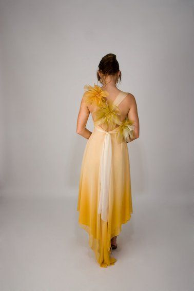 Yellow summer dress with flower detail http://www.arcarocouture.com.au/
