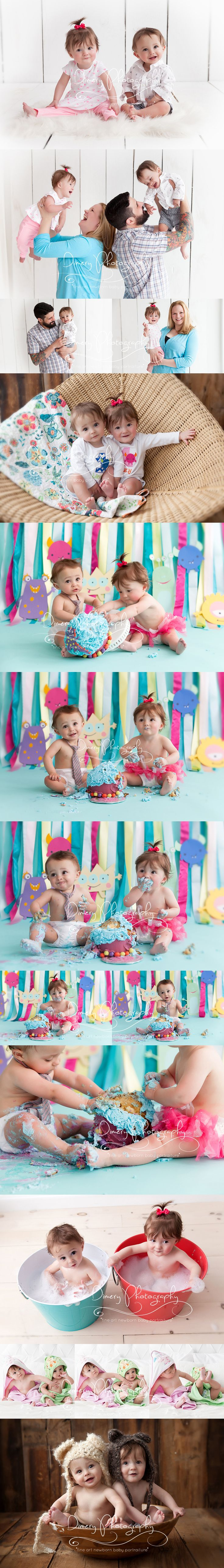 twins cake smash, first birthday cake smash photos, monster cakesmash, one year old twins, natural light baby photography, twin pose ideas, babies in bear hats, multiples ©Dimery Photography 2015