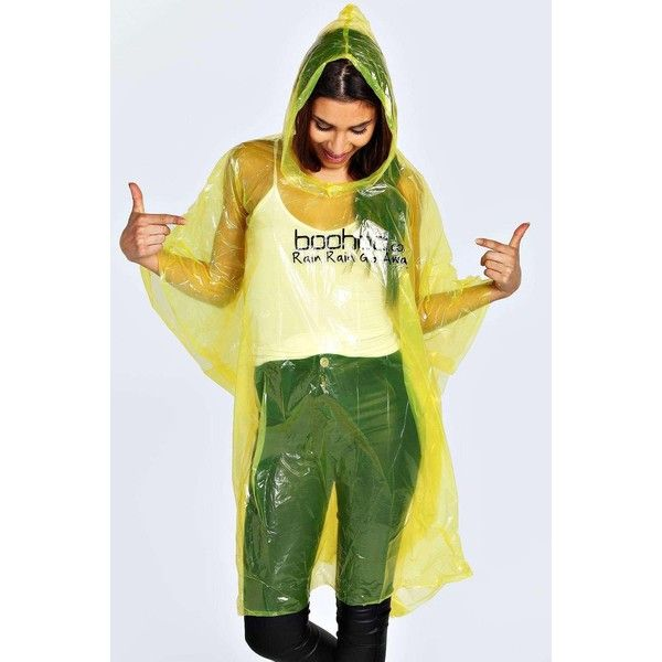 Boohoo Disposable Showerproof Festival Poncho Non Refundable (£1.54) ❤ liked on Polyvore featuring outerwear, yellow, style poncho, hooded poncho, sheer ponchos, yellow poncho and waterproof poncho