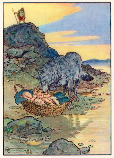 The basket flowed down the river until it landed on the roots of a fig tree at the base of Palatine Hill. There, they encountered a she-wolf who suckled them along with a wood pecker who fed them.
