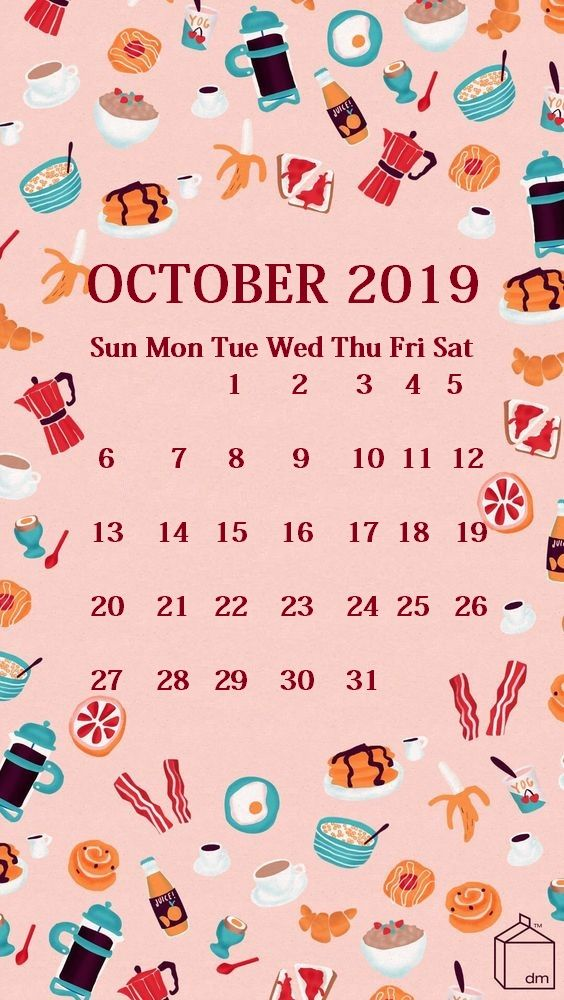Cute iPhone October 2019 Calendar Background Calendar