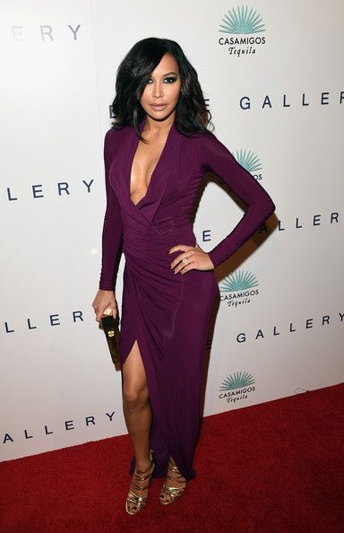 Naya Rivera Evening Dress - Naya Rivera oozed seductive appeal during Brian Bowen Smith's Wildlife show in a slinky purple Donna Karan gown with a deep-V neckline and a thigh-baring slit.