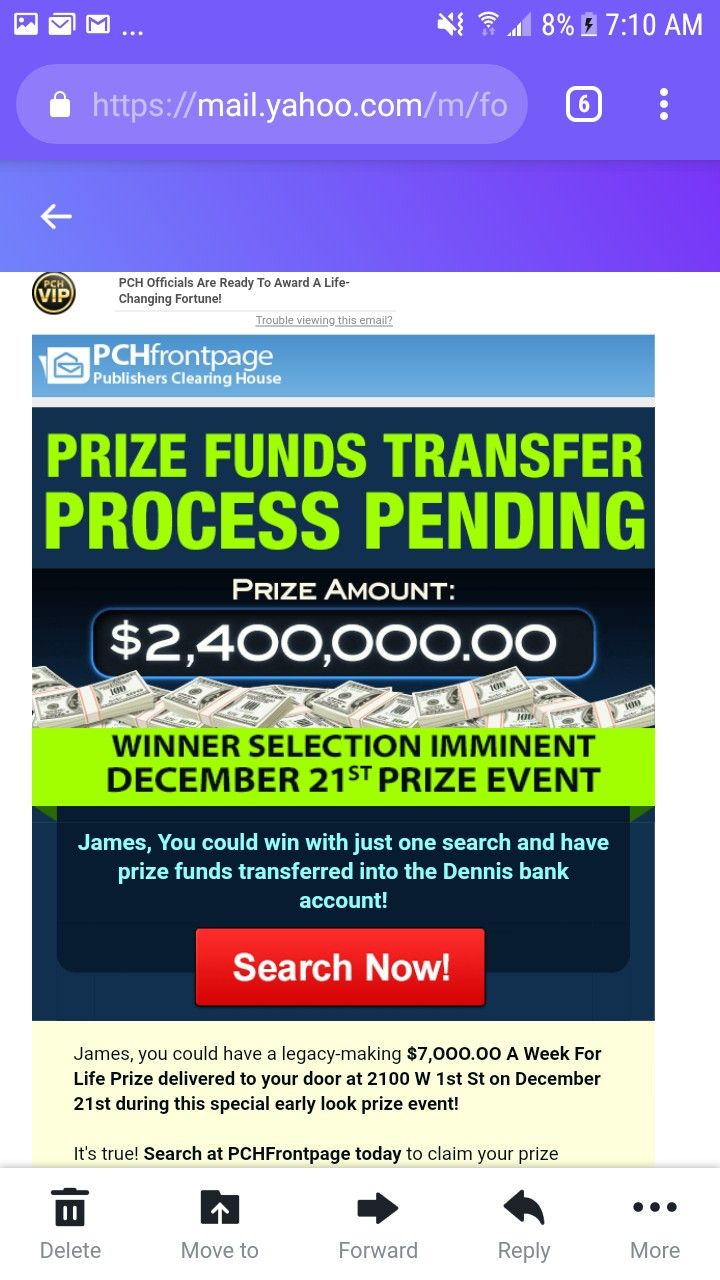 PCH PRIZE FUNDS TRANSFER $2,400,000 00 Winner Imminent!!! I am Rosa