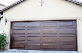 have a worn painted aluminum garage door stain it, diy, doors, garage doors, painting, Love our faux wood gel stained garage door