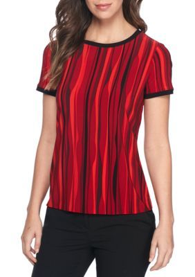 Anne Klein Women's Stripe Button Back Top - Titian Red/Blk Cmb - M