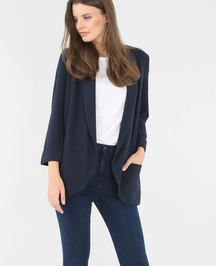 Vest van crêpestof marineblauw