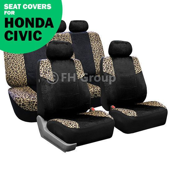 Leopard Print Lush Velour Seat Covers Full Set for Honda Civic