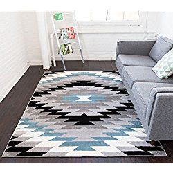 """Dusky Mesa Grey & Blue Southwestern Modern Classic Geometric Medallion Area Rug 8 x 10 ( 7'10"""" x 9'10"""" ) Easy Clean Stain Fade Resistant Shed Free Contemporary Thick Soft Plush Living Dining Room"""