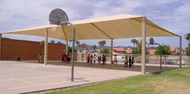 outdoor basketball shade back yard pinterest outdoor basketball court basketball court and shade structure - U Shape Canopy 2015
