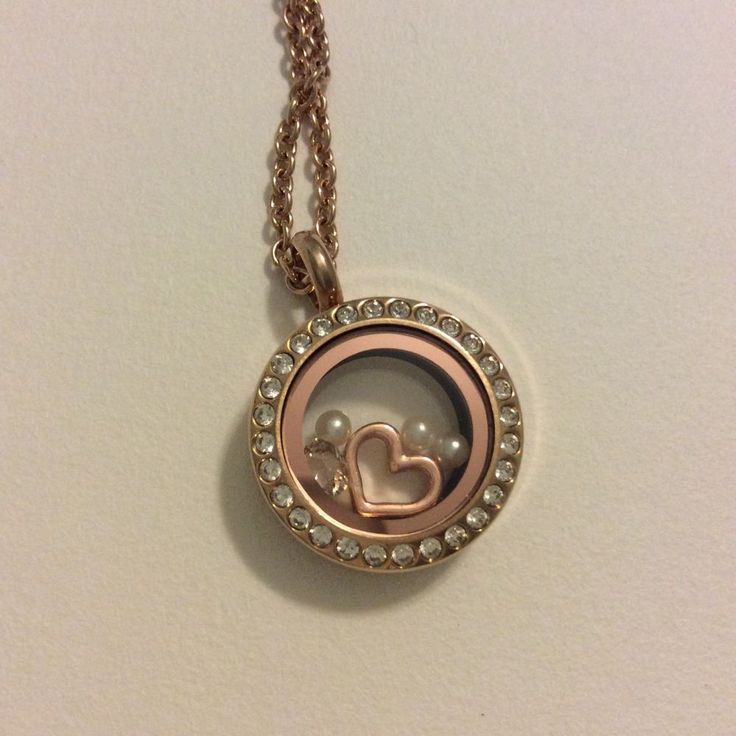 South Hill Designs Mini Rose Gold Locket W. Heart, Pearls & Birthstone