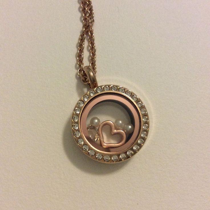 South Hill Designs Mini Rose Gold Locket W. Heart, Pearls & Birthstone