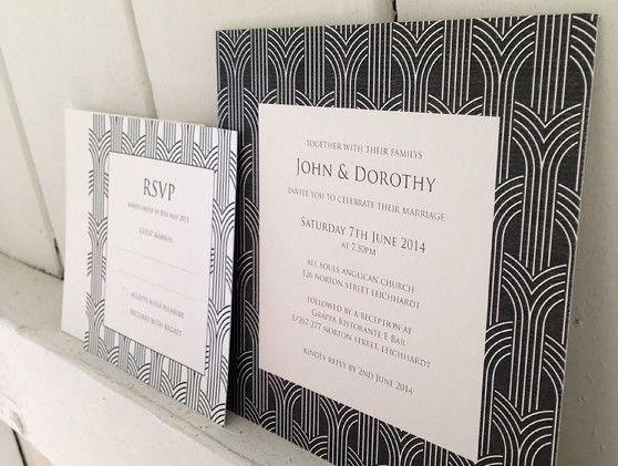 Art deco wedding stationery - grey arches
