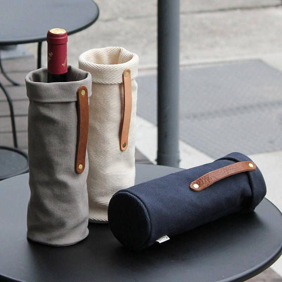 Minimalist Wine Tote Bag, Leather Handled Wine Gift Bag, Canvas Wine Carrier, Gift for Men, Gift for Dads, Winery Souvenir