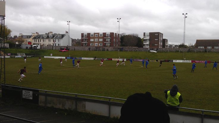 Lewes kick-off in their Ryman Premier League match against Harrow Borough