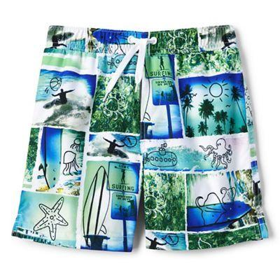 Lands' End Boys' multicoloured volley printed swim shorts   Debenhams
