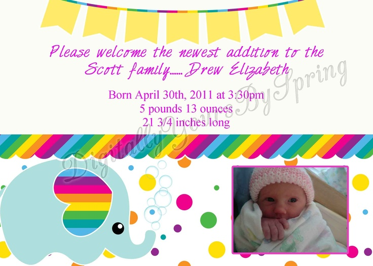 Customize this cute elephant themed baby birth announcement for your party needs! If you would like to customize using different fonts or colors or add your personal pictures I can customize to your needs. Please visit my online store for more information. https://www.etsy.com/shop/DigitallyUrsbySpring or like me on Facebook! http://www.facebook.com/DigitallyYoursBySpring