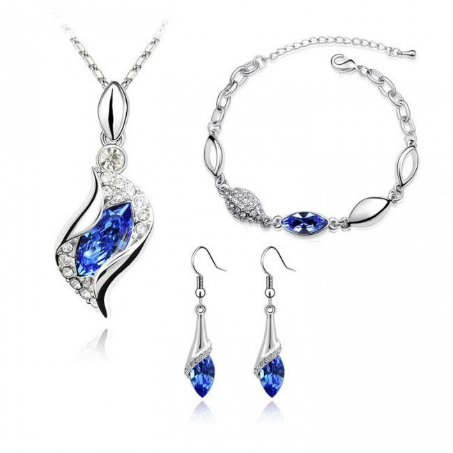 Austrian Crystal Angel Eye Jewelry Set Necklace Earring Bracelet TCDJS0001 #Jewelry #WomensJewelry