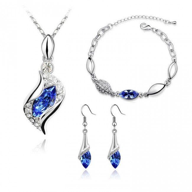 Austrian Crystal Angel Eye Jewelry Set Necklace Earring Bracelet TCDJS0001 #Jewelry #WomensJewelry