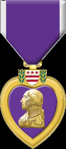 In honor of my husband:  The Purple Heart Medal.  The Purple Heart is a United States military decoration awarded in the name of the President to those who have been wounded or killed while serving on or after April 5, 1917 with the U.S. military.