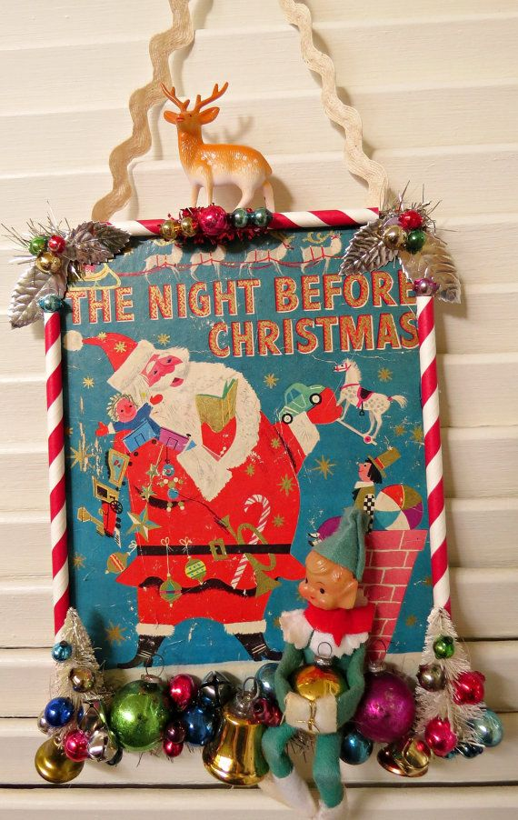Vintage CUTE Book Cover Christmas Wall Decoration