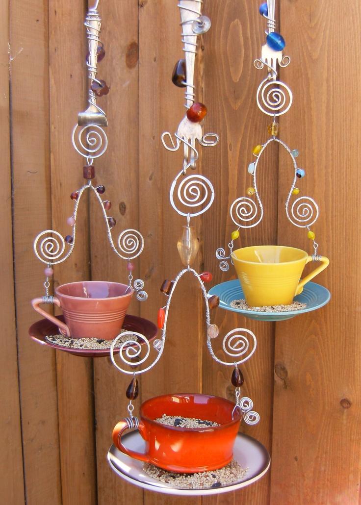 teacup hanging bird feeder