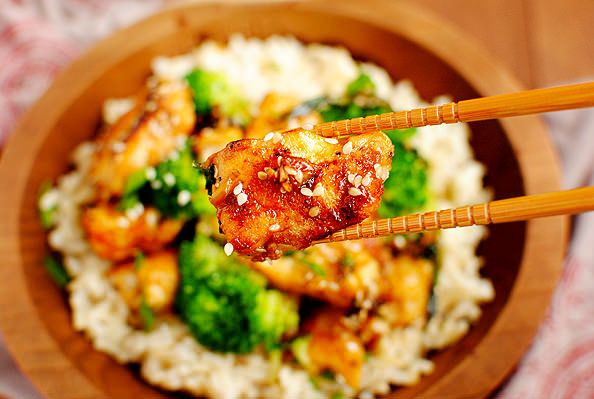 Take-Out Fake-Out: Lighter Sesame Chicken | Iowa Girl Eats. Dinner tomorrow night!
