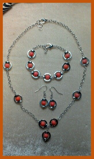 A necklace alternative for my circle frame, coral & hematite jewellery design....