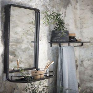 large industrial wall mirror with mini shelf furniture