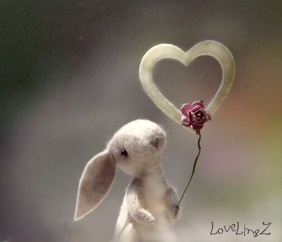 I LOVE YOU   Felt mini bunny with heart <3 by LoveLingZ on Etsy