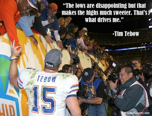 Tim Tebow celebrating with fans after winning the National Championship in Miami in 2008. For insider authority on Football, Football recruiting, and more visit GatorCountry.com today!