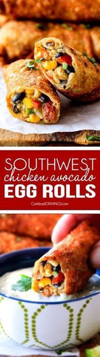 CRISPY Southwest Egg CRISPY Southwest Egg Rolls loaded with...  CRISPY Southwest Egg CRISPY Southwest Egg Rolls loaded with Mexican spiced chicken beans tomatoes rice avocado and cheese! These eggrolls are unreal! So much flavor and texture! And dont skip the Cilantro Lime Ranch Dip - its heaven! Recipe : http://ift.tt/1hGiZgA And @ItsNutella  http://ift.tt/2v8iUYW