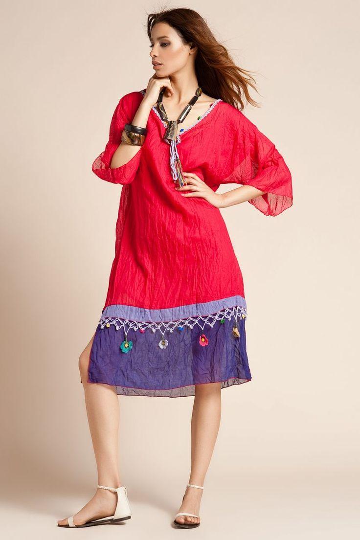 otantik elbiseler | Otantik Türkbükü Elbise - Kırmızı