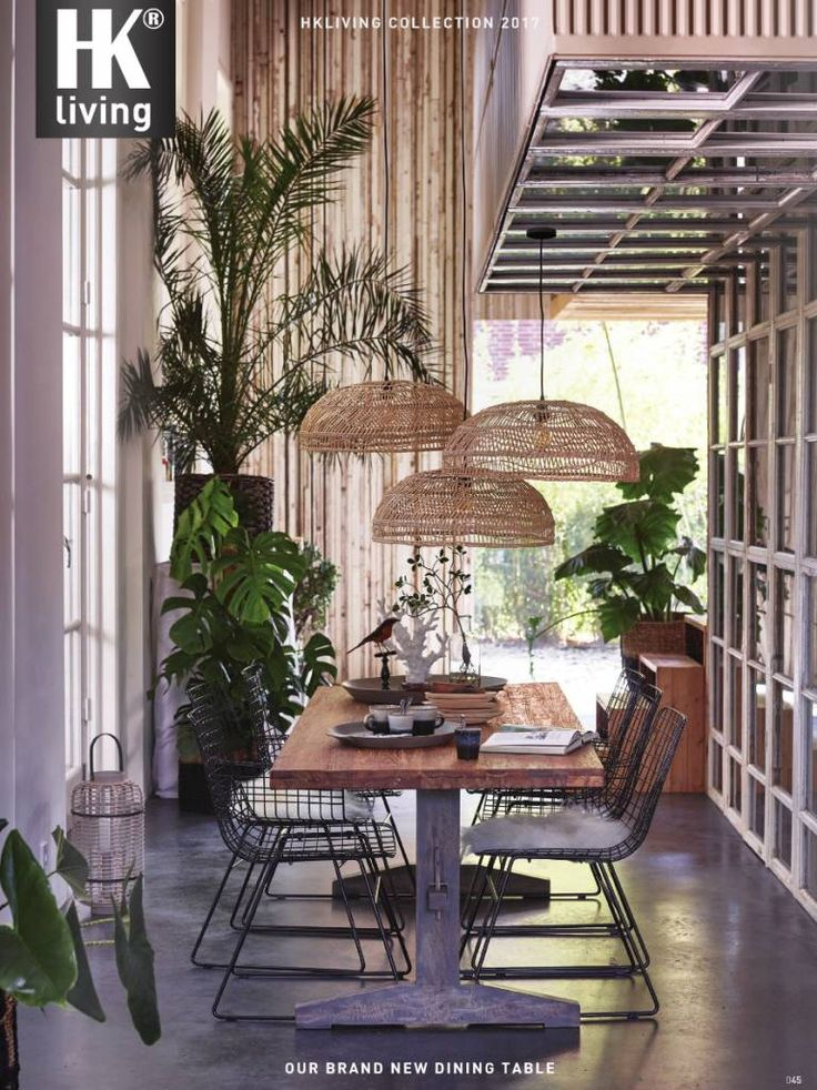 HK Living Lampe Suspension en osier - Ø60cm - HK Living - Petite Lily Interiors