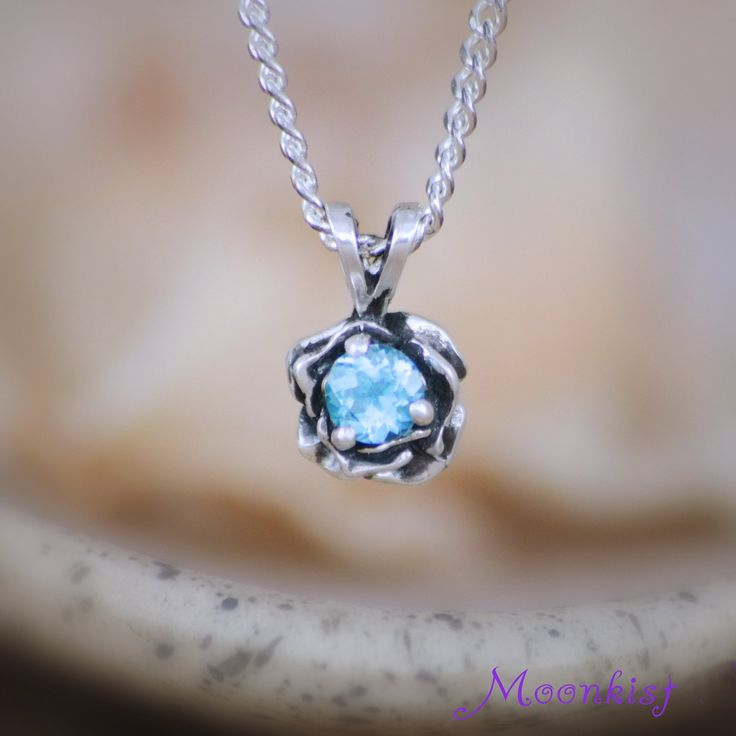 Silver Blue Topaz Rose Solitaire Necklace - Silver Floral Rose Layering Pendant and Chain - Dainty Silver Flower Necklace with Gemstone
