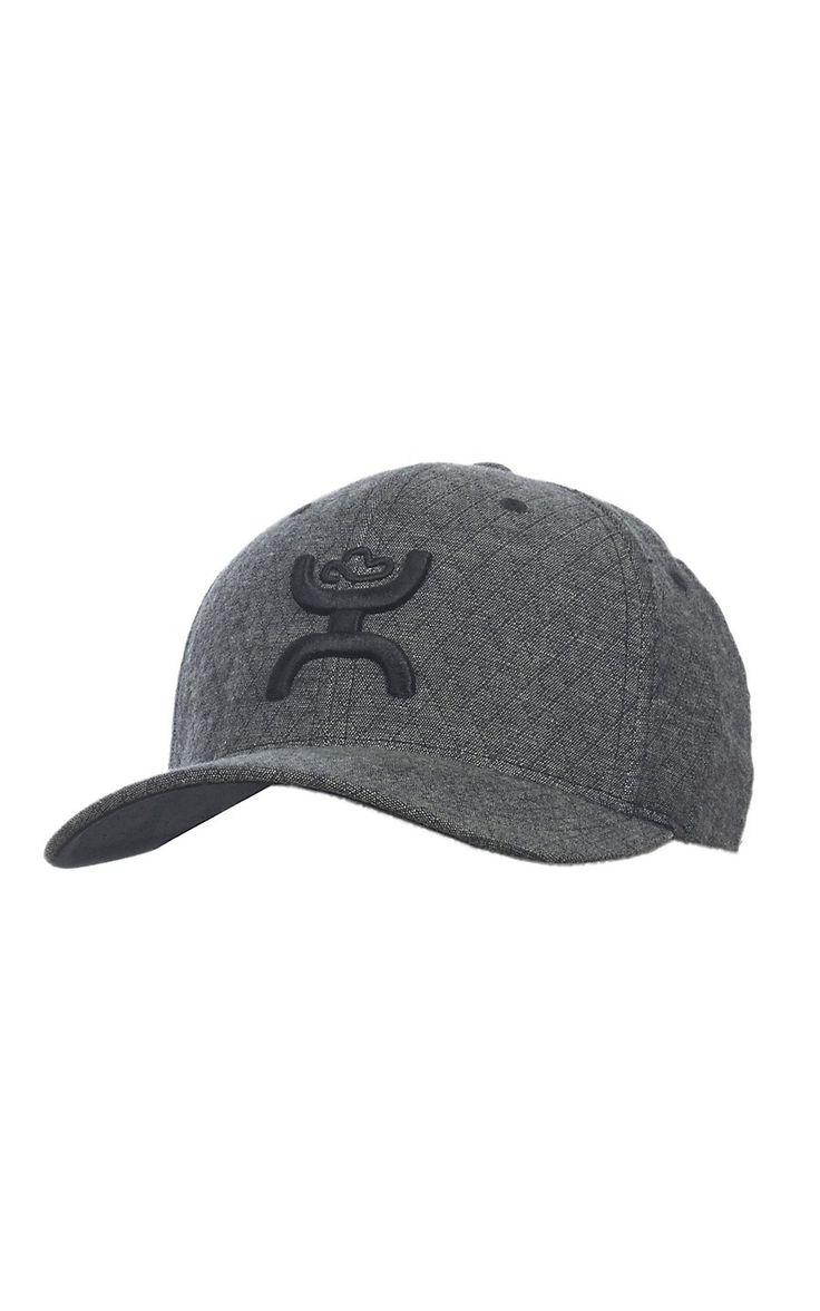 HOOey Grey Diamond with Black Logo Flex Fit Cap