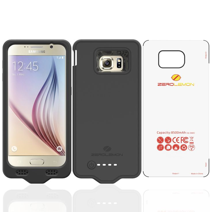 Samsung Galaxy S6 Battery Case, ZeroLemon Samsung Galaxy S6 8500mAh Extended Battery with Silica Gel Full Edge Protection Case - Black