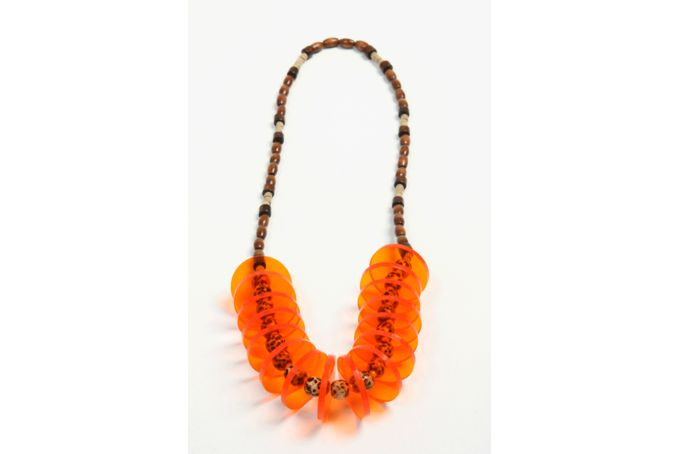 Orange perspex necklace by Jeli