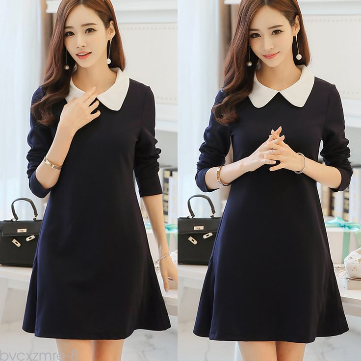 Trendy 2016 Korean Style Peter-pan Collar Long Sleeve Slim Sweet Women Dress