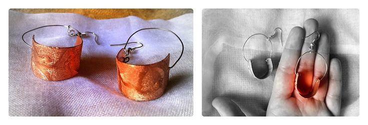 orecchini in rame levigato e inciso, con forma ricurva : Orecchini di serendipity-officina-delle-idee
